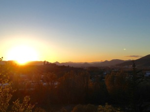 Sunset over pamplona from the banks of the river Arga